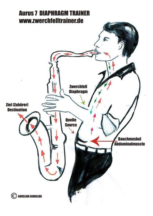 Aurus 7 embouchure-abdominal//diaphragm trainer for saxophone and clarinet Entwicklung